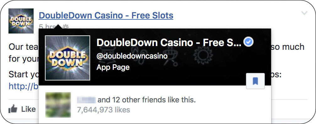 The official DoubleDown Casino Facebook page has a blue checkmark to represent it is verified.