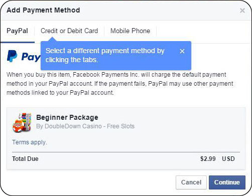 Choose your preferred payment method on Facebook