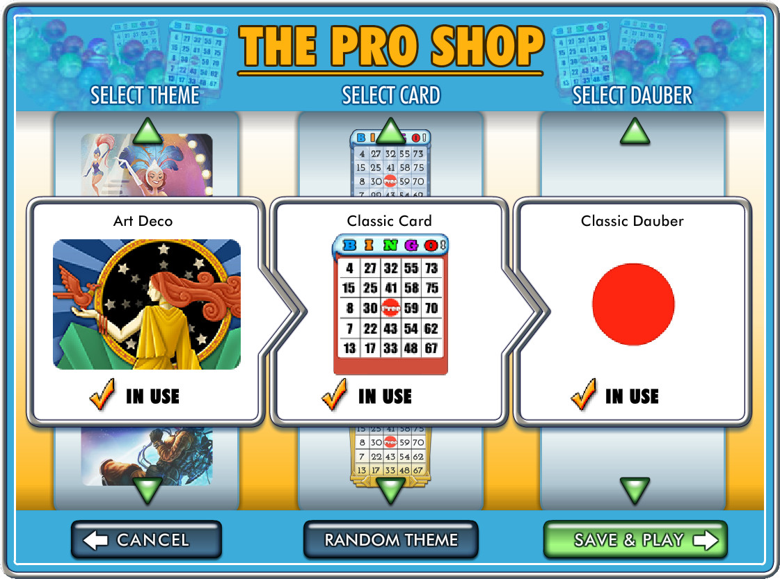 Choose your favorite card theme and dauber style in The Pro Shop