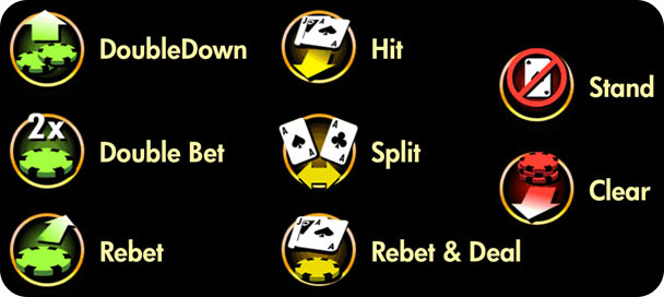 Game control icons for Blackjack