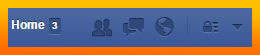 Top navigation bar in Facebook
